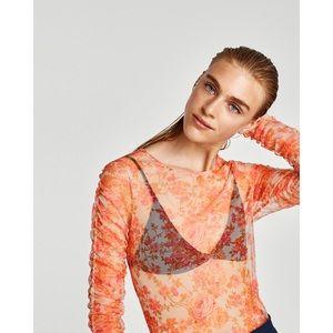 Zara Tulle Floral Top